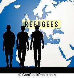 mundo, refugees, migración, plano de fondo, mapa, ...