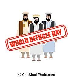 mundo, refugiado, day., expatriates, en, sirio, garments., refugiado, estampilla, en, personas.
