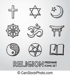 mundo, religión, mano, dibujado, símbolos, set., vector