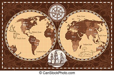 mundo, retro, mapa
