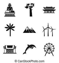 mundo, ruta, iconos, conjunto, simple, estilo