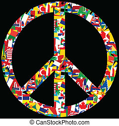 mundo, símbolo, paz, bandeiras