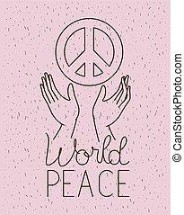 mundo, símbolo, paz, mãos