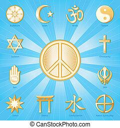 mundo, símbolo, paz, religiones