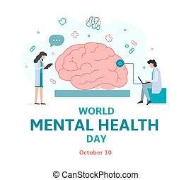 mundo, salud, mental, día