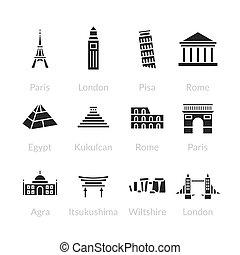mundo, señales, conjunto, contorno, iconos