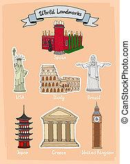 mundo, señales, conjunto, icono