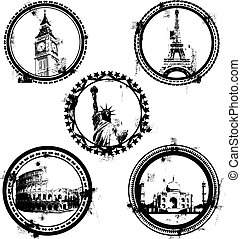 mundo, señales, sellos, famoso