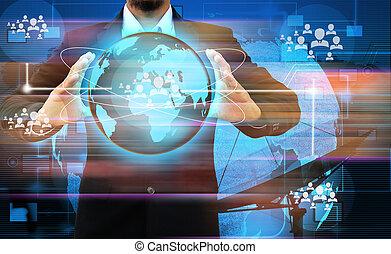 mundo, segurando mão, homem negócios, social, exposição, rede