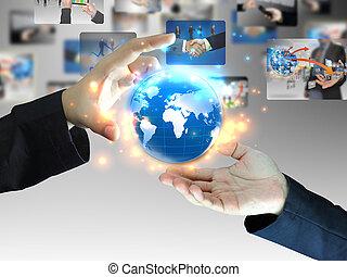 mundo, segurando, negócio, mão