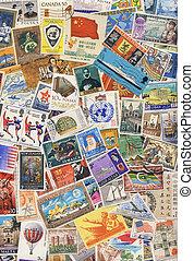 mundo, sellos, -, estampe reunir