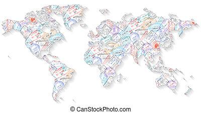 mundo, sellos, pasaporte, mapa
