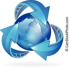 mundo, setas, negócio, logotipo