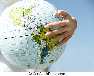 mundo, seu, mão