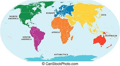 mundo, siete, continentes, mapa