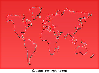 mundo, silueta, mapa