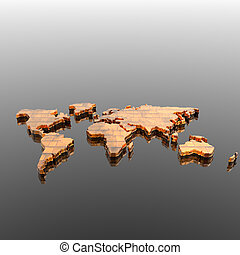 mundo, silueta, mapa geográfico