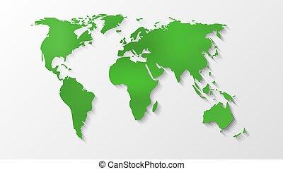 mundo, silueta, mapa verde