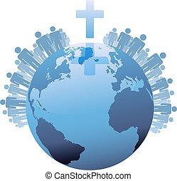 mundo, sob, populations, terra, crucifixos, global, cristão