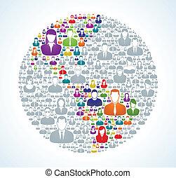 mundo, social, população
