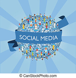 mundo, social, rede, mídia