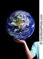 mundo, -, su, tierra, palma, manos, planeta