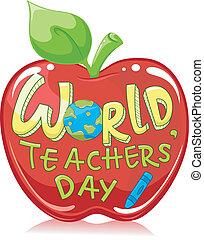 mundo, teachers', día, manzana