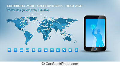 mundo, teléfono, touchscreen, reglas