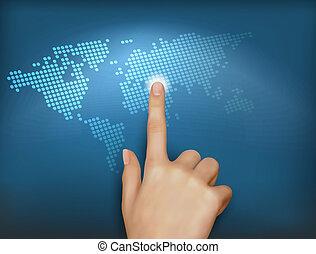 mundo, tocar, dedo, mapa