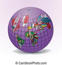 mundo, todos, banderas