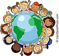 mundo, todos, unido