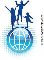 mundo, topo, crianças, pular