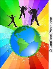 mundo, topo, dançar