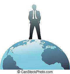 mundo, topo, negócio global, homem