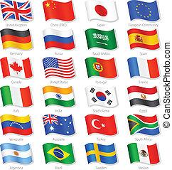 mundo, topo, países, vetorial, nacional, bandeiras