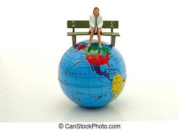 mundo, topo, sentando