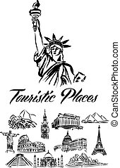 mundo, touristic, ilustração, lugares