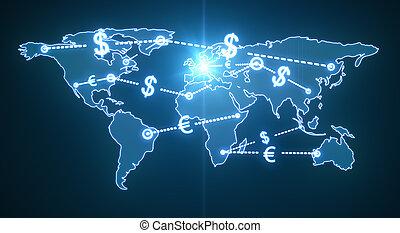 mundo, tráfego, dinheiro