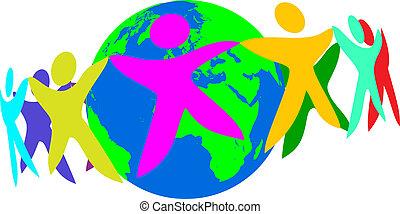 mundo, trabajo equipo, -, gente