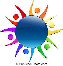 mundo, trabalho equipe, ao redor, logotipo