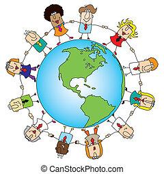 mundo, trabalho equipe, ao redor