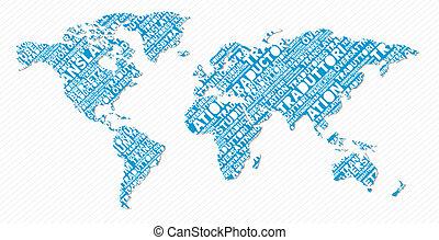 mundo, traducción, concepto, multilingüe, mapa