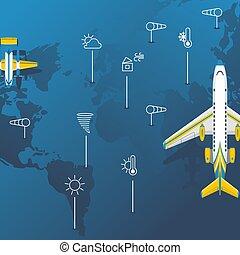 mundo, transatlántico, aviación, pronóstico, pasajero, plano...