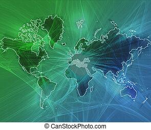 mundo, transferencia de datos, verde