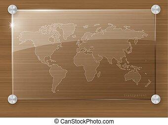 mundo, transparente, mapa