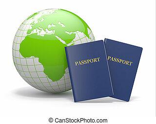 mundo, travel., terra, e, passport., 3d