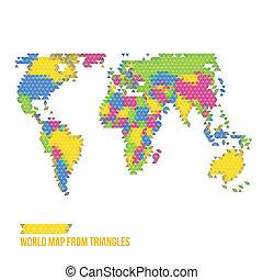 mundo, triángulos, mapa