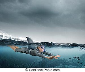 mundo, tubarão, negócio