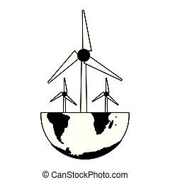 mundo, turbina, pretas, branca, vento
