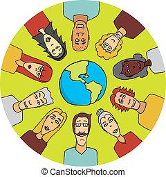 mundo, unidas, ao redor, pessoas